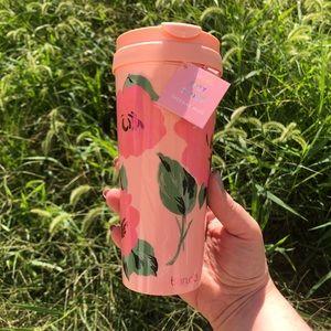 Pink Rose Print Travel Mug